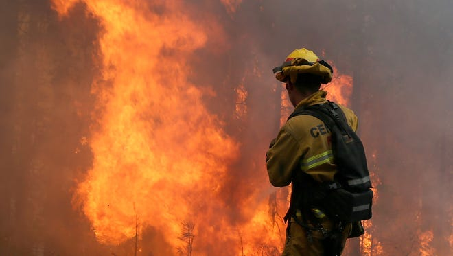 A firefighter from Central Calaveras Fire monitors the Rim Fire on August 22, 2013 in Groveland, California. The Rim Fire continues to burn out of control and threatens 2,500 homes outside of Yosemite National Park.