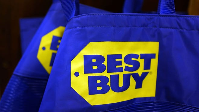 Bags are viewed in a Best Buy store on August 20, 2013 in New York City.