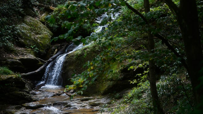 Water cascades down the rocks next to the Mason-Dixon Trail in Lower Chanceford Township.
