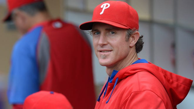 Phillies second baseman Chase Utley (26) smiles before the game Sept. 18 against the San Diego Padres at Petco Park. Credit: Jake Roth-USA TODAY Sports