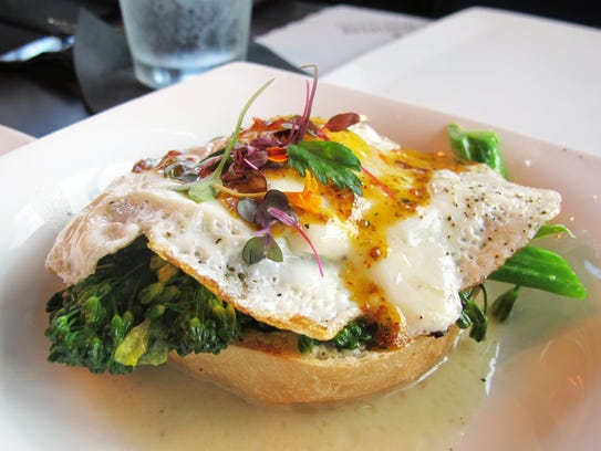 Tim's Broccoli Toast starter features white wine, sheep's