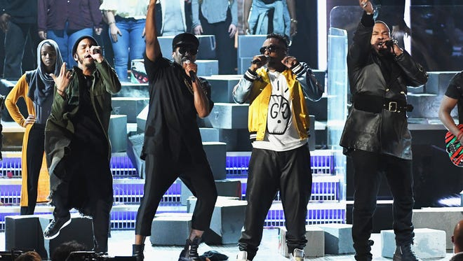 Hip Hop Artists Anderson .Paak, Q-Tip and Jarobi White of A Tribe Called Quest and Busta  perform onstage during The 59th GRAMMY Awards at STAPLES Center on February 12, 2017 in Los Angeles, California.