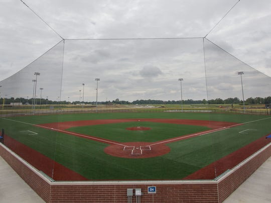 A baseball field at Grand Park in Westfield, Ind., is shown June 10, 2014. The 400-acre sports park opens with a ribbon cutting June 21.