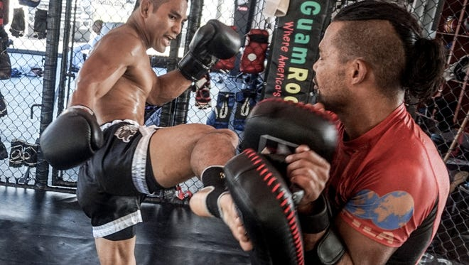 In this file photo, Joe Gogo trains at Spike 22 while on vacation in Guam. Gogo will face Renato Mansilla of Peru on July 2 for the International Karate Kickboxing Council Muay Thai title.