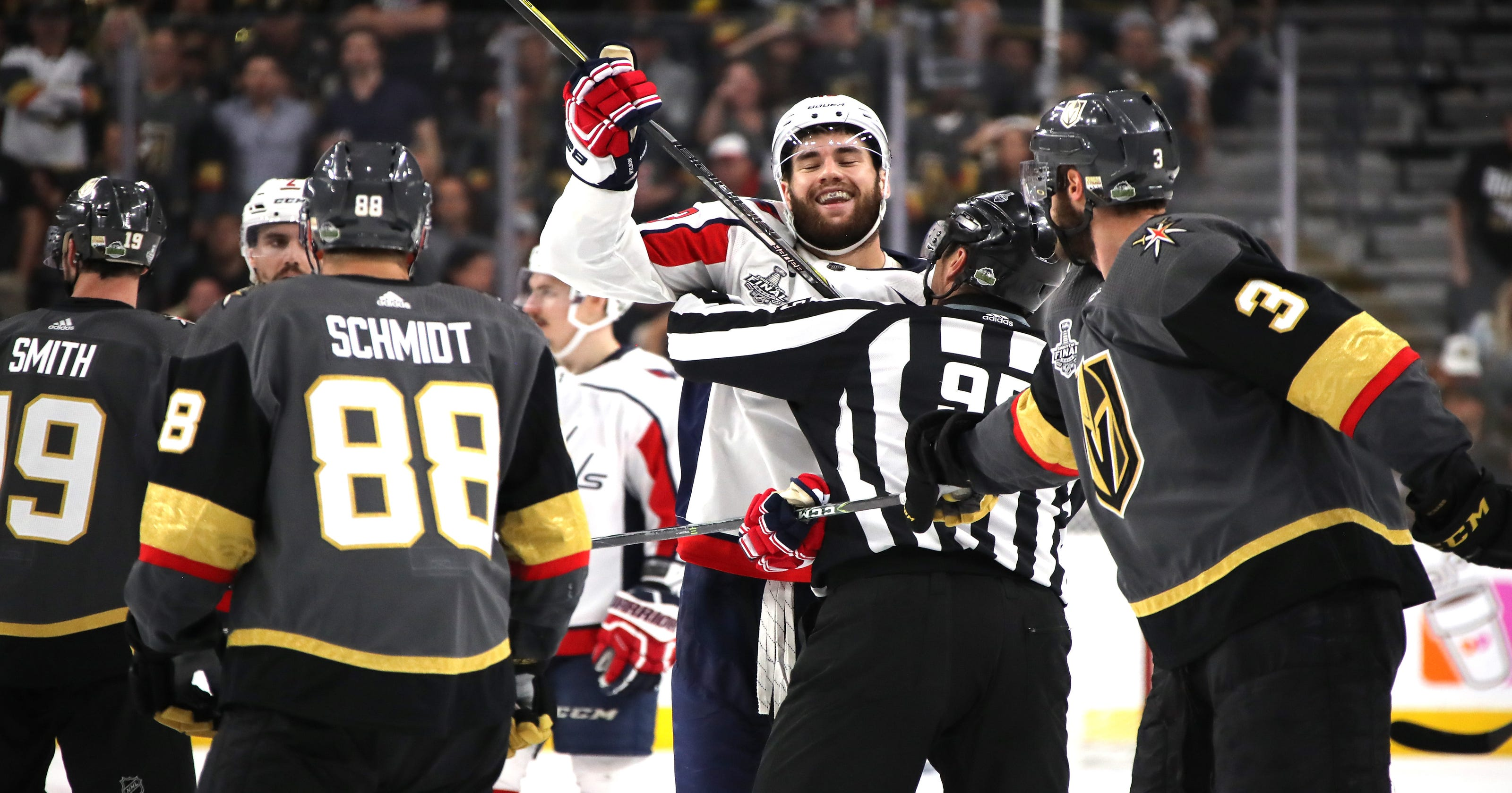 9f1daa906ee Tom Wilson delivers controversial hit again in Game 1 of Stanley Cup Final
