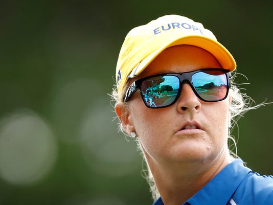 Europe's Anna Nordqvist, of Sweden, watches her shot off the 13th tee during practice for the Solheim Cup golf tournament, Thursday, Aug. 17, 2017, in West Des Moines, Iowa. (AP Photo/Charlie Neibergall)