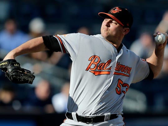 FILE - In this Sept. 17, 2017, file photo, Baltimore Orioles relief pitcher Zach Britton throws during the ninth inning of a baseball game against the New York Yankees at Yankee Stadium in New York. Britton has been activated from the disabled list, six months after undergoing surgery to repair a ruptured right Achilles tendon. Assuming he's finally healthy enough to resume his role as one of the best closers in the big leagues, the question now is: How long will Britton be with the Orioles? (AP Photo/Seth Wenig, File)