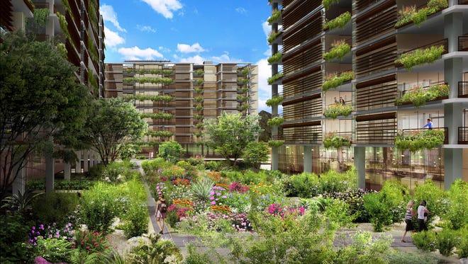 Renderings of Optima Kierland, a luxury condominium tower in the Kierland area of Phoenix.
