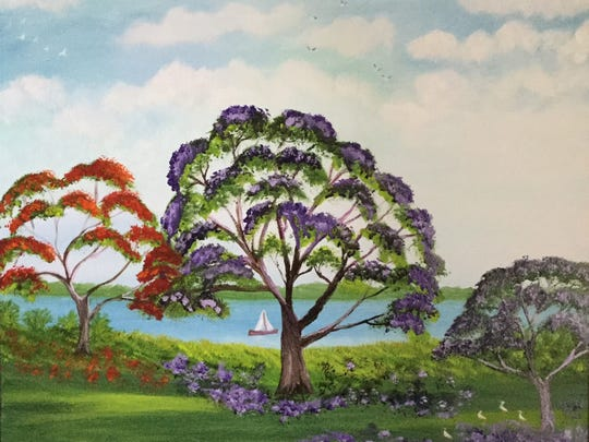 An oil on canvas by Doretha Hair Truesdell.