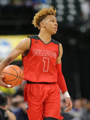 New Albany guard Romeo Langford (1) faces off against Silver Creek during Basketball Day Indiana at Bankers Life Fieldhouse on Saturday, Jan. 6, 2018. New Albany beat Silver Creek 65 to 72.