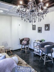 "The new Salon 1|4, 1407 E. 86th St. in Indianapolis owned by stylist Kortney Norris features bridal suit where a bridal party can have their styling done together on Monday, Jan. 29, 2018. Norris will also soon be known for doing the brides' hair for the TV show ""Married at First Sight."""