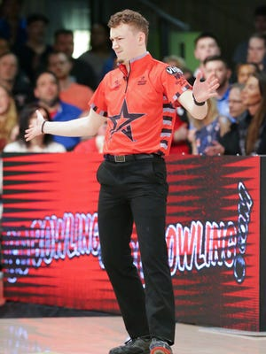 Keven Williams reacts to his roll while facing off against Marshall Kent during the PBA 60th Anniversary Classic held at Woodland Bowl in Indianapolis on Sunday, Feb. 18, 2018. The stepladder finals were ultimately won by Jakob Butturff.