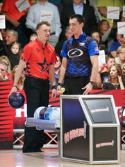 Keven Williams, left, bowls against Marshall Kent, right, during the PBA 60th Anniversary Classic held at Woodland Bowl in Indianapolis on Sunday, Feb. 18, 2018. The stepladder finals were ultimately won by Jakob Butturff.