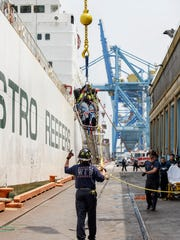 An injured worker on a vessel at the Port of Wilmington