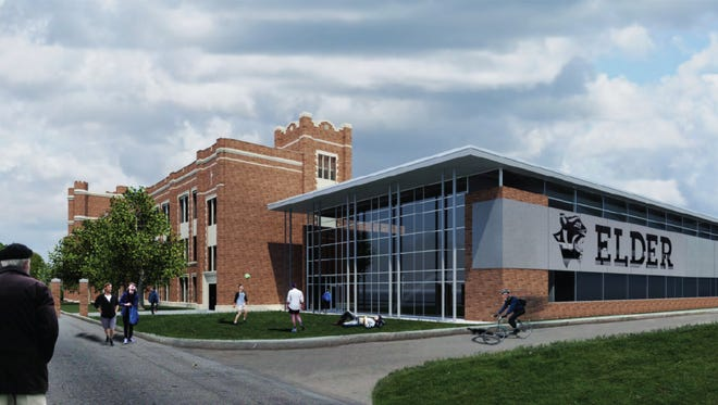 A conceptual drawing of what Elder High School's new two-story Panther Fitness Center will look like, courtesy of SHP Leading Design.