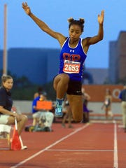 Gregory-Portland's Abby Tello-Mettlach competes in the girls 5A triple jump during UIL State Track & Field Championships on Thursday, May, 11, 2017, at Mike A. Meyers Stadium in Austin.