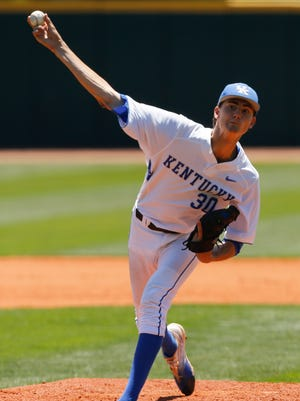 Sean Hjelle of the Kentucky Wildcats delivers a pitch against the Ohio Bobcats during the NCAA Baseball Regional at Cliff Hagan Stadium in Lexington, Kentucky on Friday June 2, 2017. (Michael Reaves/Special to The Courier Journal)