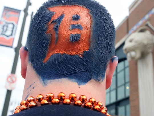 Detroit Tiger fan Michael Furneaux of Lapeer shows
