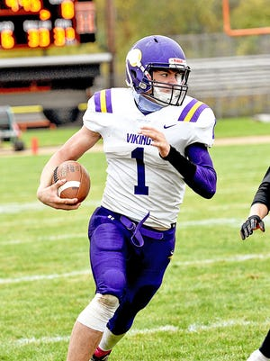 Bronson quarterback Jordan Shadix (1) earned All Conference First Team honors in 2020.