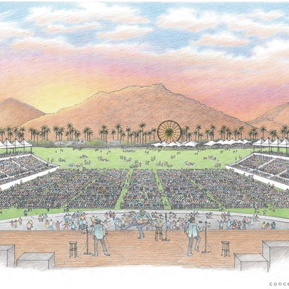 A conceptual drawing of the Desert Trip festival.