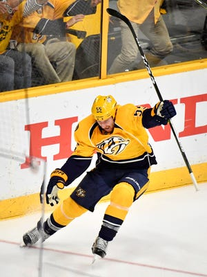 Predators left wing Cody McLeod (55) celebrates his goal during the second period of Game 3 on Sunday, April 30, 2017.