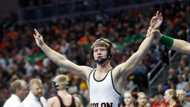 SolonÕs Bryce West wins the class 2A, 120-pound title match Saturday, Feb. 18, 2017 in the state wrestling finals at Wells Fargo Arena in Des Moines.