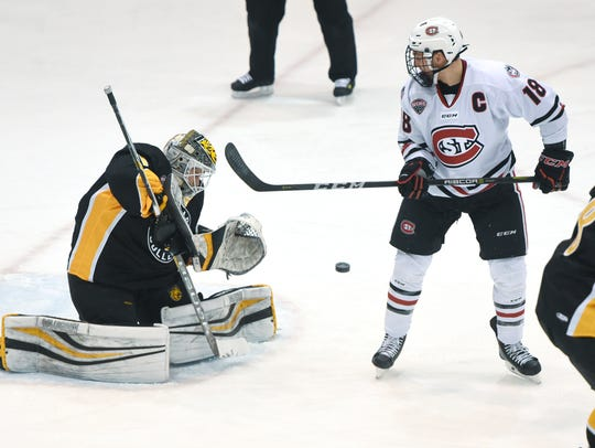 St. Cloud State's Judd Peterson watches a shot toward
