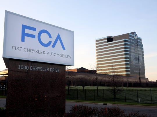 The new Fiat Chrysler Automobiles, FCA, sign that revealed at the front entrance of the Chrysler World Headquarters in Auburn Hills on Tuesday, May 6, 2014.