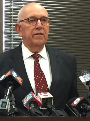 During a press conference Thursday, Marion County Prosecutor Terry Curry announces his office will seek the death penalty against Jason Brown, who is accused of killing Southport Police Lt. Aaron Allan in July. Southport Police Chief Tom Vaughn also spoke during the press conference.