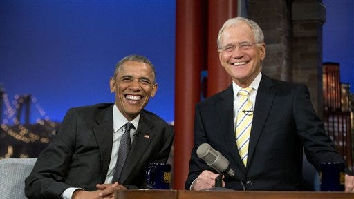 "President Barack Obama with host David Letterman smile during a break at a taping of CBS The Late Show with David Letterman at the Ed Sullivan Theater in New York, Monday, May 4, 2015. Obama traveled to New York to announced the creation of an independent nonprofit organization that is a spin off his ""My Brother's Keeper"" program, to tape a segment on Letterman's show and to do fundraising for the Democratic party. (AP Photo/Pablo Martinez Monsivais)"