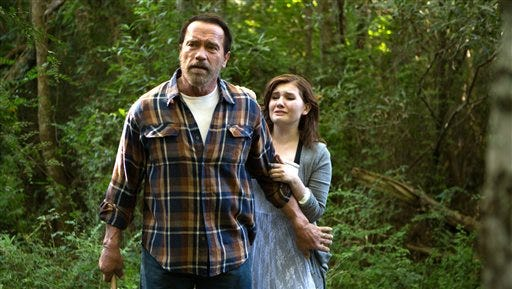 """In this image released by Roadside Attractions, Abigail Breslin, right, and Arnold Schwarzenegger appear in a scene from """"Maggie."""" (Tracy Bennett/Roadside Attractions via AP)"""