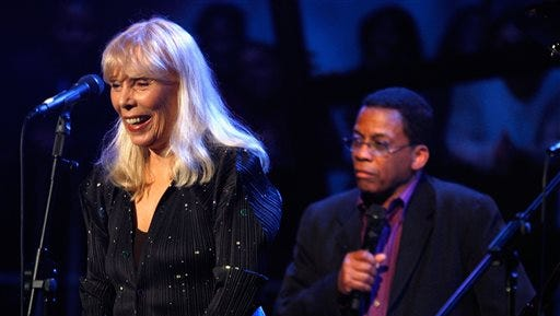 This March 20, 2008 file photo shows Joni Mitchell, left, and Herbie Hancock perform as part of Nissan Live Sets on Yahoo! Music in Los Angeles. Mitchell's friend and conservator says it was an aneurysm that sent the folk singer to the hospital in March 2015. Conservator Leslie Morris acknowledged the aneurysm in a statement posted on Mitchell's website on Sunday, June 28, 2015, providing the first significant details on Mitchell's health status in the months since an ambulance was sent to her Los Angeles house to take her to the hospital.