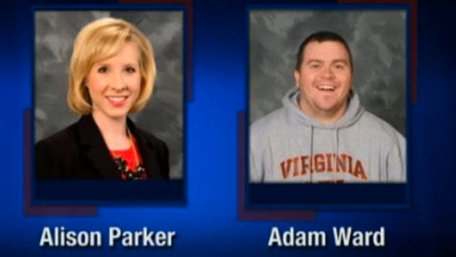 This screenshot from WDBJ-TV7, in Roanoke, Va., shows reporter Alison Parker and photographer Adam Ward. Parker and Ward were killed Wednesday when a gunman opened fire during a live on-air interview in Moneta, Va.
