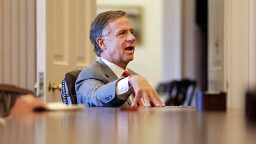 "Tennessee Gov. Bill Haslam answers questions during an interview Thursday n Nashville. Although the speakers of the Tennessee House and Senate want to allow people with handgun carry permits to be armed at the legislative office complex as soon as possible, Haslam said that he wants to maintain the gun ban for the Capitol, calling it a ""secure building."""