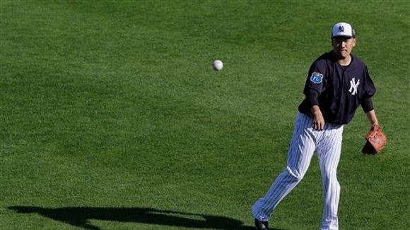 New York Yankees Masahiro Tanaka, of Japan, during