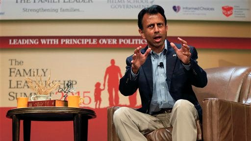 FILE -In this Saturday, July 18, 2015 file photo, Republican presidential candidate, Louisiana Gov. Bobby Jindal, speaks at the Family Leadership Summit in Ames, Iowa. Jindal left the governor's office nearly two months ago, but his legacy permeates a special legislative session aimed at digging Louisiana out of deep financial troubles. Criticism of Jindal is bipartisan and widespread, with irritated lawmakers left sifting through the highly-unpopular choices of raising taxes or taking a hatchet to higher education and government services. (AP Photo/Nati Harnik)