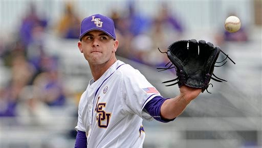 LSU starting right handed pitcher Alex Lange (35) went nine innings in a losing effort Saturday.