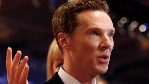"""FILE - In this file photo dated Wednesday, April 15, 2015, British actor Benedict Cumberbatch arrives to host the Laureus World Sports Awards in Shanghai, China. The first of three new episodes of """"Sherlock"""" will be broadcast Sunday Jan. 1, 2017, on BBC TV in Britain, with Cumberbatch once again taking on the role of the brilliant, demanding detective Sherlock Holmes."""