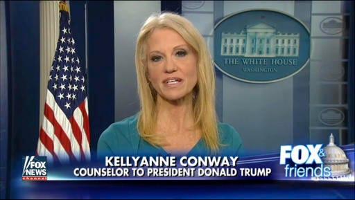 """This frame grab from video provided by Fox News shows White House adviser Kellyanne during her interview with Fox News Fox and Friends, Thursday, Feb. 9, 2017, in the briefing room of the White House in Washington. Conway defended Ivanka Trump's fashion company, telling Fox News that Trump is a """"successful businesswoman"""" and people should give the company their business."""
