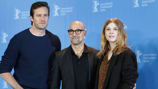 From left, actor Armie Hammer, director Stanley Tucci and actress Clemence Poesy pose for the photographers during a photo call for the film 'Final Portrait' at the 2017 Berlinale Film Festival in Berlin, Germany, Saturday, Feb. 11, 2017.