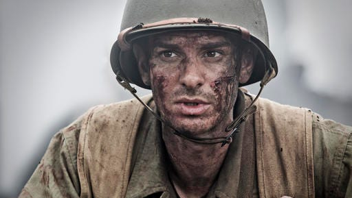 "FILE - This image released by Summit shows Andrew Garfield in a scene from ""Hacksaw Ridge."" The film has been nominated for an Oscar in the best picture and best directing categories. Movie fans can watch a variety of Oscar-nominated flicks online from their couches for a fee. The films ""Arrival"" and ""Hell or High Water"" can be rented through Amazon, Google Play or Apple's iTunes, but viewers will have to buy downloads of ""Hacksaw Ridge,"" ""Manchester by the Sea"" and ""Moonlight."""