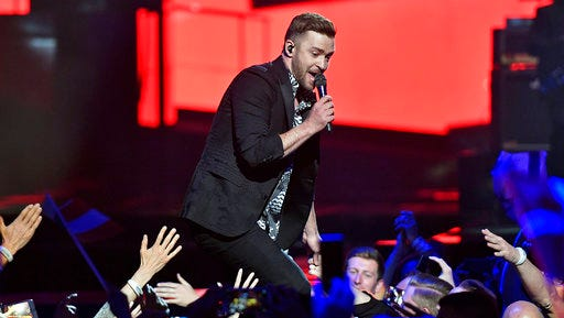 FILE - Int his May 14, 2016, file photo, singer Justin Timberlake performs during the Eurovision Song Contest final in Stockholm, Sweden. Timberlake is scheduled to perform on Oct. 21, 2017, at the Circuit of the Americas in Austin, Texas, during Formula One's only stop in the U.S., organizers of the U.S. Grand Prix announced Wednesday, March 29, 2017.