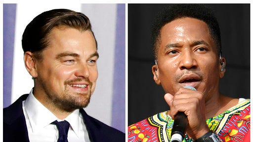FILE - In this combination of file photos, Leonardo DiCaprio, left, appears at an event to discuss climate change at the White House in Washington on Oct. 3, 2016, and  Q-Tip, from A Tribe Called Quest, performs at the Wireless Festival in London on July 14, 2013. Longtime friends DiCaprio and Q-Tip hung out at an intimate showcase for the Australian band Chase Atlantic who made their debut in New York late Wednesday, March 29, 2017.