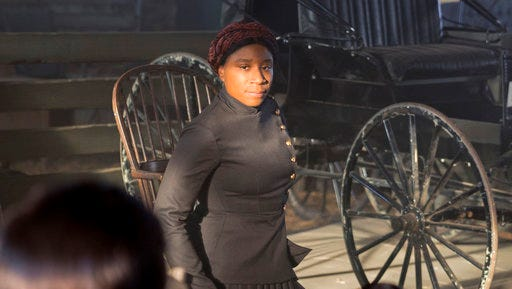 "In this image released by WGN America, Aisha Hinds portrays Harriet Tubman in a scene from ""Underground."""