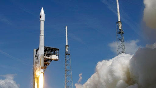 A United Launch Alliance Atlas V rocket that will carry supplies to the International Space Station lifts off from complex 41 at the Cape Canaveral Air Force Station, Tuesday, April 18, 2017, in Cape Canaveral, Fla.