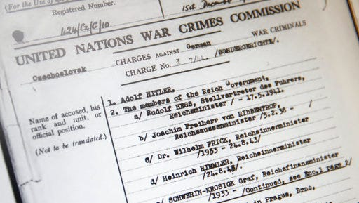 A view of a screen showing a  United Nations' file from the Czechoslovak government in exile making its case for war crimes against Adolf Hitler, displayed at the Wiener Library for the Study of Holocaust & Genocide, in London, Friday, April 21, 2017. The library is making the United Nations' files on World War II war crimes more accessible by allowing the general public to search an online catalog of the documents for the first time beginning Friday. People will still have to visit the library in London or the U.S. Holocaust Museum to read the actual files.