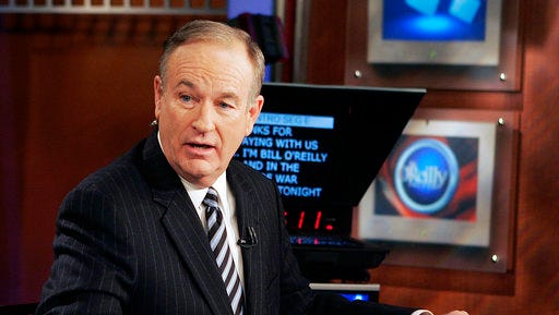 """FILE - In this Jan. 18, 2007 file photo, Fox News commentator Bill O'Reilly appears on the Fox News show, """"The O'Reilly Factor,"""" in New York. O'Reilly has lost his job at Fox News Channel following reports that several women had been paid millions of dollars to keep quiet about harassment allegations."""