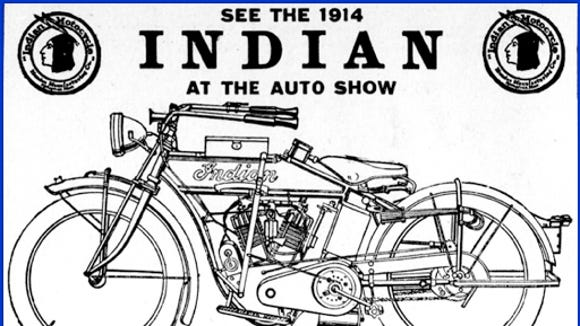 Illustrations of the two cylinder Indian and Thor motorcycles that raced at the York Fairgrounds in 1912.