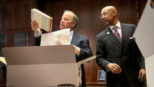 Detroit Mayor Mike Duggan and the city's top lawyer, Melvin (Butch) Hollowelll