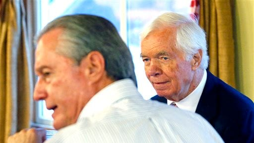 U.S. Sen. Thad Cochran, R-Miss., right, listens as the Rev. Jerry Dillon of Parkway Church in Madison discusses issues at Mama Hamil's Restaurant on Tuesday in Madison.